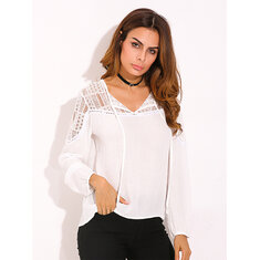 Women Blouse Long Sleeve Lace Trim Tie V-neck Shirt