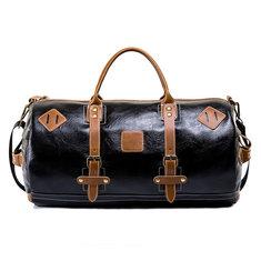 28L Men PU Leather Handbag Shoulder Bag Duffle Gym Tote Bag Sports Travel