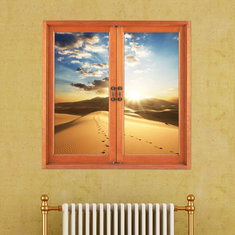 Desert 3D Artificial Window View 3D Wall Decals Sunset Room PAG Stickers Home Wall Decor Gift