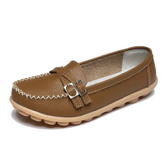 New Women Flat Loafers Casual Comfortable Soft Slip-On Leather Flats Shoes
