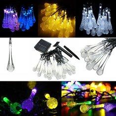 4.8M 20 LED Solar Power Raindrop String Fairy Light For Christmas Party Decor