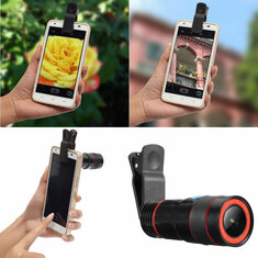 Universal 8X-12X Zoom Telescope Clip-on Camera Lens for Smartphone Tablets