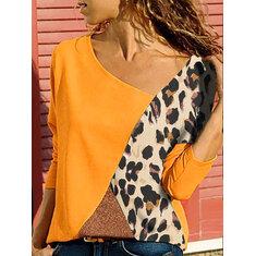 Plus Size Leopard Print Patchwork Long Sleeve Blouse