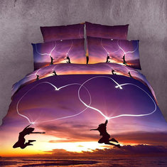 4pcs Suit 3D Dancing Youth Polyester Fiber Reactive Dyeing Bedding Sets Queen King Size