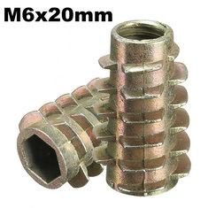 5Pcs M6x20mm Hex Drive Screw In Threaded Insert For Wood Type E