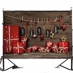90x150cm/3x5ft Wooden Gift Box Christmas Background Vinyl Fabric Photography