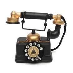 Intage Rotary Landline Telephone Decor Statue Artist Antique Phone Figurine Decor Model for Home Desk Decoration Holiday Gifts