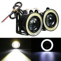 Universal 2.5Inch COB LED Fog Lights White Angel Eyes Halo Ring Daytime Running Lights DRL Projector Lamp 30W
