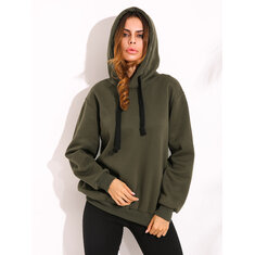 Women Hooded Long Sleeve Drawstring Solid Color Sweatshirt