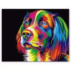 50x40CM ColorFul Puppy Dog Little Animal Pet DIY Self Handicraft Paint Kit  Home Decor Wood Framed