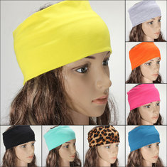 Women Multicolor Elastic Hairbands Turban Stretch Wide Yoga Headbrand