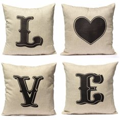 Valentine Love Couple Throw Cotton Linen Pillow Case Cushion Cover