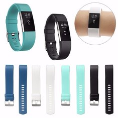 Replacement Silicone Wristband Strap Clasp Buckle Bracelet For Fitbit Charge 2