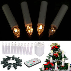 10PCS Flameless Wireless Church LED Candle Night Light with 7Keys Remote Control for Indoor Decor