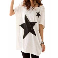 Star Pattern Women's Leisure Loose Short Sleeve T-shirt