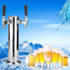 Towers Beer Tap Duel Faucet Draft Chrome Mirror Polished Double Stainless Steel