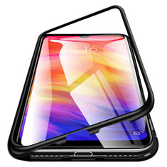 Bakeey™ Magnetic Flip Metal Frame Tempered Glass Full Cover Protective Case for Xiaomi Redmi Note