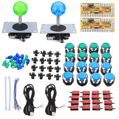 Dual Player Arcade DIY Kit Game Controller Joystick LED Push Button Encoder Board