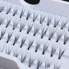 8/10/12mm Cluster Individual False Eyelashes Flare Black Fake Lash Knot 56 Stands Lashes Extension