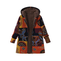Women Ethnic Floral Printed Hooded Pockets Jackets Coats