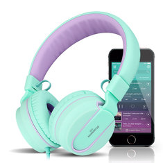 kanen I35 Foldable Noise Cancelling Wired On-ear Headphone Headset with Mic for Samsung S8 Xiaomi