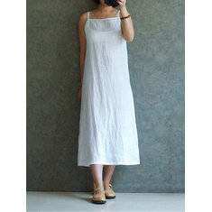 Women Sleveless Spaghetti Strap Long Dress