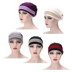 Women Muslim Stretch Turban Hat Winter Warm Hat Chemo Cap Hair Loss Head Scarf Wrap