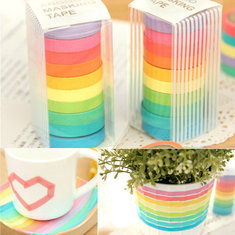 10 Rolls Rainbow  Paper Tapes Adhesive Sticker Candy Color Decorative For Scrapbook
