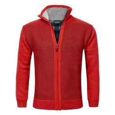 Men's Knitted Wool Blend Thick Polar Fleece Lining Sweater Cardigans