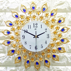 38x38cm Iron Art Gold Wall Clock European Style Quartz Wall Clock For Living-room Bedroom Office