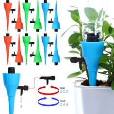 6Pcs/12Pcs New Upgrade Thickened Self Automatic Sprayer Watering Device Adjustable Water Flow Dripper Spikes With Control Valve Constant Pressure Design Drip Irrigation Kit Fit On All Bottles