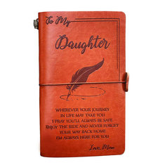 Engraved Leather Journal Notebook Diary Custom Message Quotes Gift Anniversary Birthday Graduation