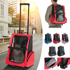 2 In 1 Pet Carrier Backpack Dog Cat Puppy Cart Breathable Outdoor Travel Bag