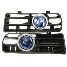 Blue LED Fog Lights Front Bumper Grille For VW 98-04 Angel Eyes Lamp