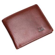 Мужской кожаный бумажник бизнес карманных карт сцепления двойные тонкий кошелек