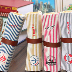 Retro Stripe Roll Wrap Canvas Pencil Case Bag Pen Makeup Cosmetic Pouch Pocket