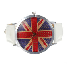Fashion Woman Lady Round Quartz Leather UK National Flag Wrist Watch