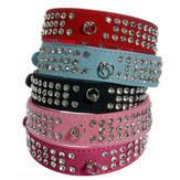 Pet Puppy Dog Suede Leather 3 Rows Diamante Crystal Rhinestone Collar