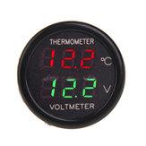 2 In 1 Car Display Dual LED Digital Thermometer Voltmeter 12V