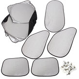 6PCS Silver Reflective Car Window UV Sunshade Sun Visor Cover Foldable