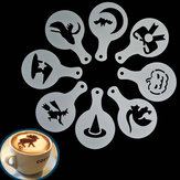 8pcs Halloween Cappuccino Latte Art Kaffee Schablonen Duster Kuchen Zuckerglasur Spray