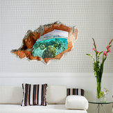 3D Under Water World Wall Decals Removable Scenery Wall Stickers Home Wall Decor