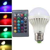 E27 3w infravermelho controle remoto 16 cor mudar lâmpadas de ball rgb LED 85-256v