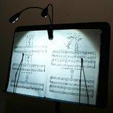 लाइट लैंप ब्लैक पर 2 डुअल आर्म्स 4 एलईडी फ्लेक्सिबल बुक म्यूजिक स्टैंड क्लिप