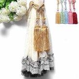 1 par frisado borlas de cristal cordão cortina tieback 6 cores