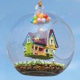 DIY Dom Latający Dom Szklana Kula Z Lampą Ręcznie Drewniane Zabawki