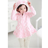 Baby Children Girls Zipper Rabbit Hooded Coat Dot Cardigan Jacket
