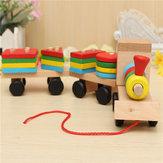 الخشب لغز قطار اللعب هندسية اللبنات التعليم هدية