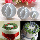 3X Christmas Holly Liść Ciasto Cookie Cutter Sugarcraft Dekorowanie Mold