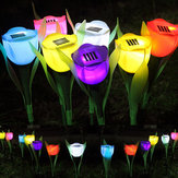 Outdoor Yard Garden Lawn Solar Power LED Night Lights Tulip Flower Lamp